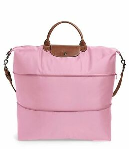 """21 Pliage rosa Bolsa Tote viaje Pliage Le Longchamp Weekender 21"""" Auténtico Expandable extensible de Weekender Pink Xl Nwt Longchamp Nwt Travel Le Xl qz6qvw"""