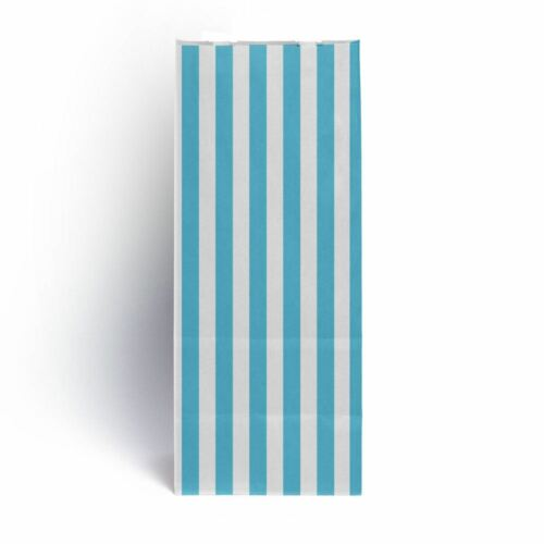 "Light Blue Stripe Pick n Mix Paper Bags 4/"" x 9.5/"" 3/"" Pack Of 100"