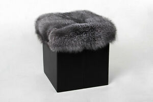 Fantastic Details About 4562 Blue Frost Fox Cube Real Fur Sitting Chair Genuine Fur Seat Fox Skins Stool Ncnpc Chair Design For Home Ncnpcorg