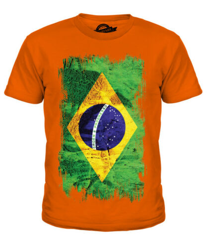 BRASILE Grunge Bandiera Kids T-Shirt Tee Top BRASIL Calcio Brasiliano Regalo Camicia
