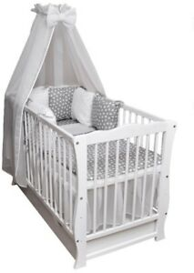 Details zu Babybett Kinderbett Bettset Minky komplett Matratze Schublade  120x60 weiß Neu