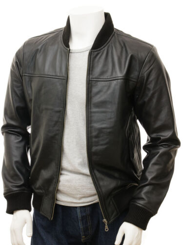 New Soft Lambskin Motorcycle biker Genuine Leather Jacket Cafe Racer Bomber 239