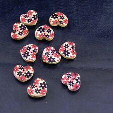 10 Flowers Design Heart-shaped Two Hole Sewing Wood Button Set