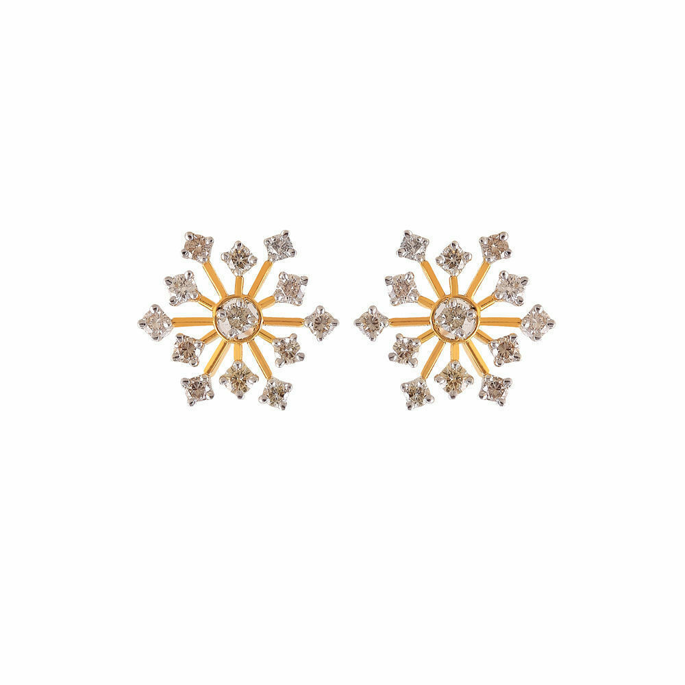 Classy 1.20 Cts Round Brilliant Cut Diamonds Stud Earrings In Certified 18K gold