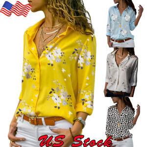 Women-Ladies-OL-Career-Business-Lapel-V-Neck-Long-Sleeve-Floral-Shirt-Blouse-Top