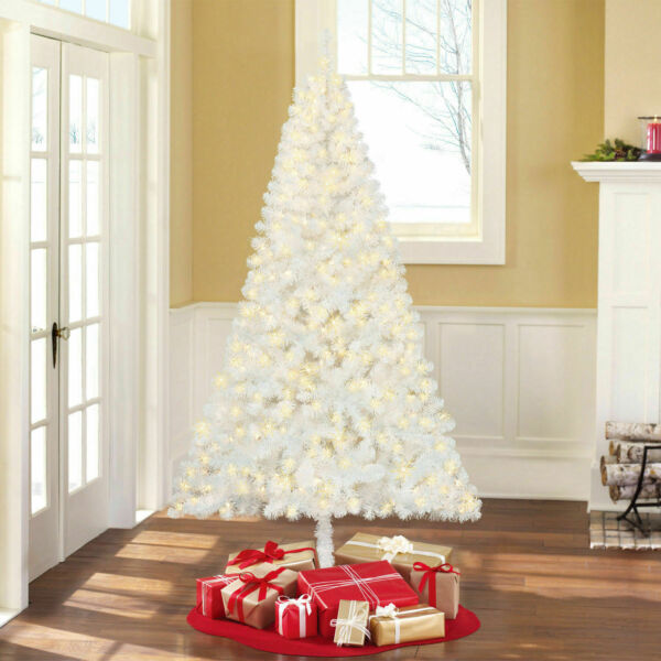 Pre-Lit White Artificial Christmas Tree with stand 600 ...