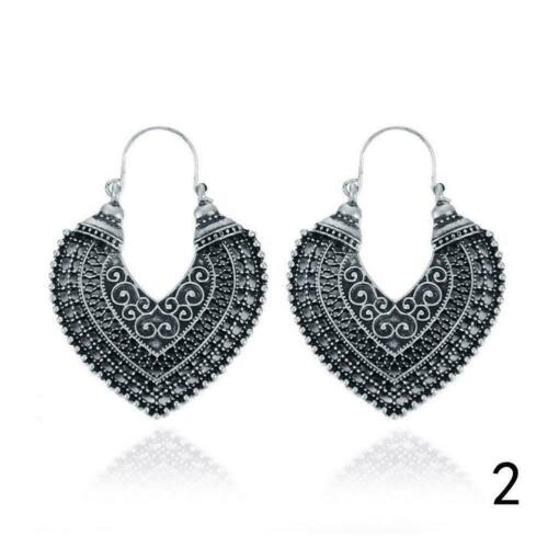 African Tribal Gypsy Antique Silver Gold Chandelier Hoop Earrings Carved Best 20