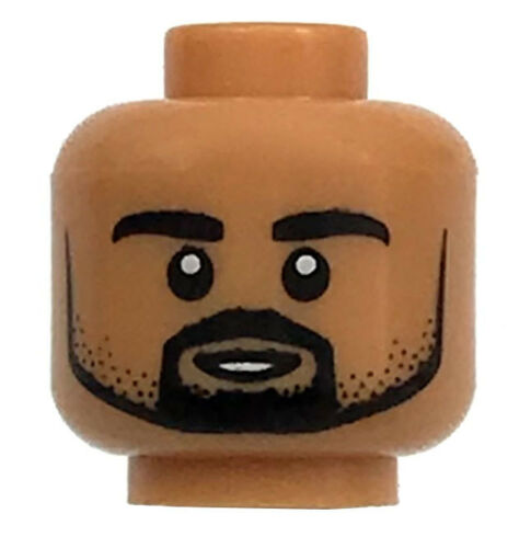 LEGO NEW FLESH MINIFIGURE HEAD MALE WITH BLACK BEARD FACE SMILE PIECE