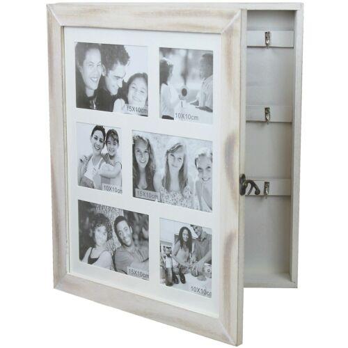Schlüsselschrank mit Bilderrahmen Holz Schmuckschrank mit Fotogalerie 6 Fotos