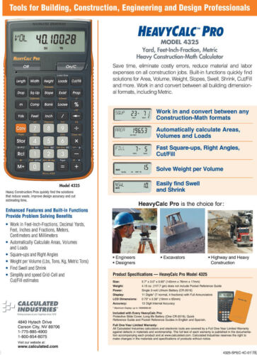 Calculated Industries HeavyCalc Pro Calculator 4325 with Hard Case