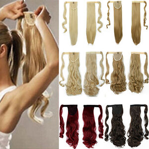 HD-Women-039-s-Popular-Long-Straight-Wavy-Ponytail-Cosplay-Clip-in-Hair-Extensions