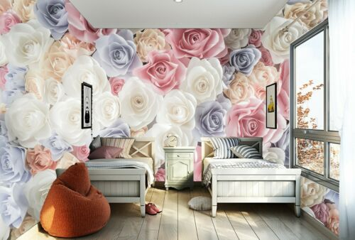 3D Colorful Roses Backdrop Self-adhesive Living Room Wallpaper Wall Murals Decor