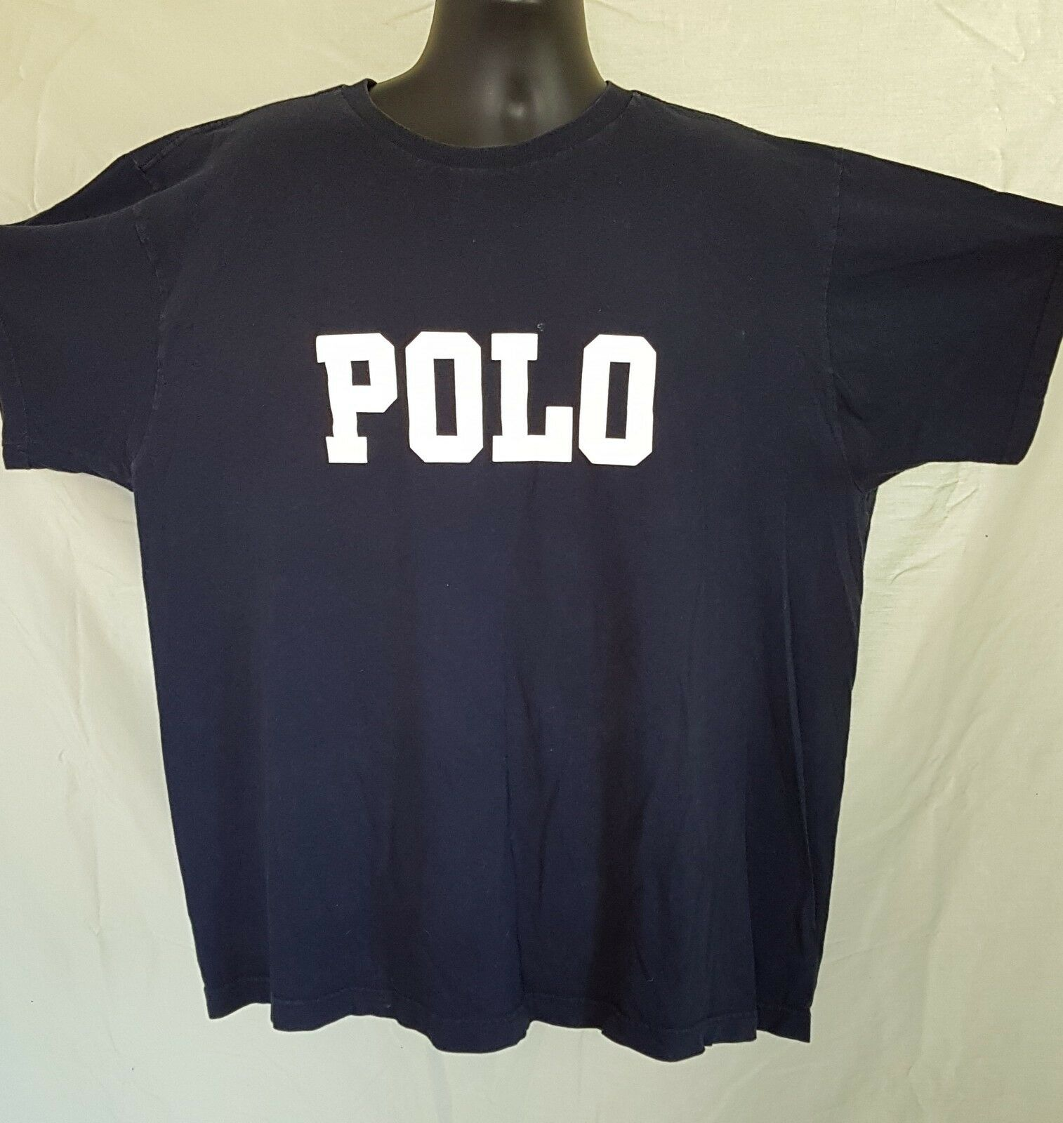 Vtg Polo Ralph Lauren T Shirt Spell Out Chest Navy bluee Lo Life Made USA Mens XL