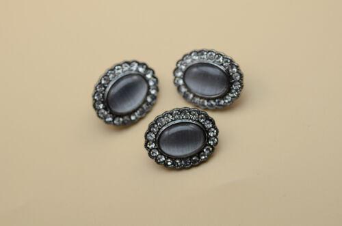 10pcs Silver//Black Clear Crystal Cat Eye Button Costume Dress Applique A370-3