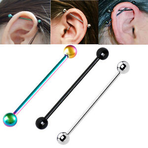Image Is Loading Stainless Steel Long Bar Cartilage Ear Stud