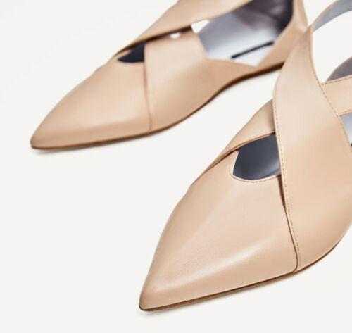Size Zara Us With Shoes Leather Nude 8 Uk 39 Buckle 6 Eu Flat Zr7SrwqxY