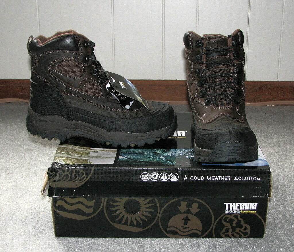 Therma Men's Leather Tremor Snow Boots Brown Size 8 NIB