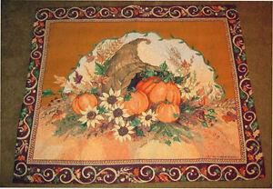 Autumn Harvest Cornucopia & Spring Garden w/Cat Grande Tapestry Wall Hanging