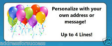 60 Personalized Colorful Balloons Custom Address Labels