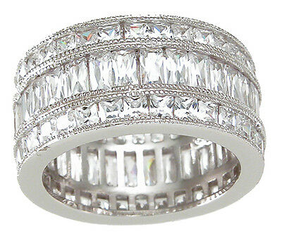 5 CARAT .925 STERLING SILVER TRIPLE ROW ETERNITY RING BAND SIZE 5 6 7 8 9