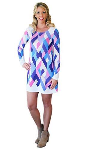 NEW 12PM by Mon Ami Geometric Print Chevron Retro 1960/'s Mod Kaleidoscope Dress