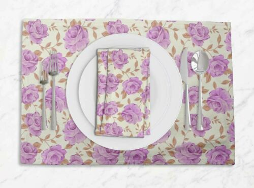 Details about  /S4Sassy Leaves /& Begonia Floral Placemats With Napkins Dining Table Decor-FL-57C