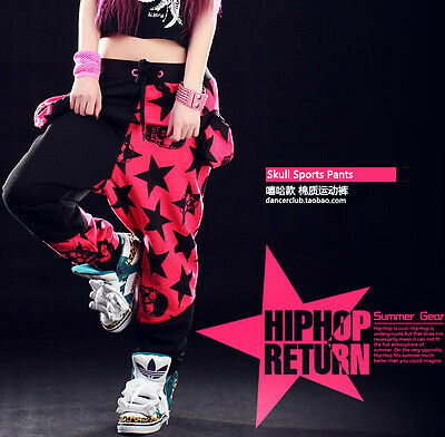Harem sports trousers Skull star Costume sweatpant Hip Hop patchwork dance pants