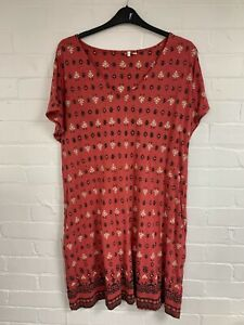 Ex Fat Face Red with Printed Design Pocket Dress Size 16 (AR1.105)