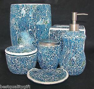 6 pc set blue green glass mosaic soap dispenser dish for Blue mosaic bathroom accessories