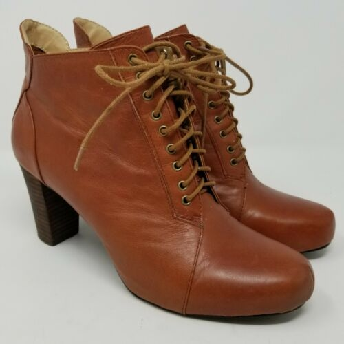Nine West Womens Size 8 M Brown Leather Lace Up Hi