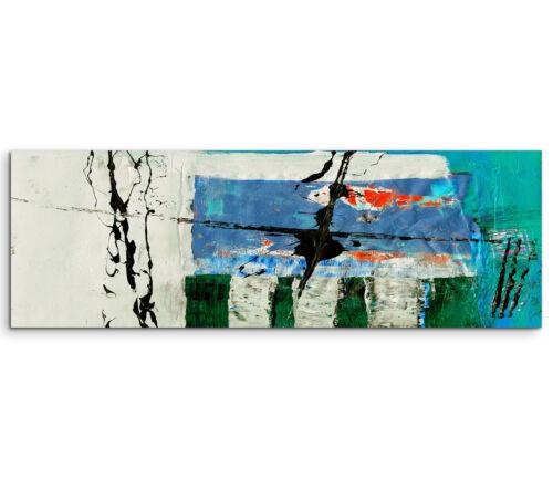 Leinwandbild Panorama grün blau rot beige Paul Sinus Abstrakt/_573/_150x50cm