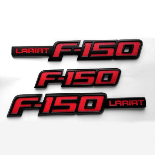 3x OEM F-150 LARIAT Emblem Side Fender F-150 Rear Tailgate Badge 3D logo Red