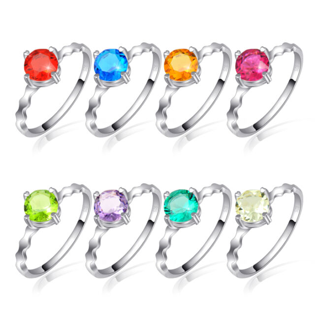 Wholesale 8 pcs 1 Set Rainbow Color Topaz Amethyst Citrine Peridot Silver Rings