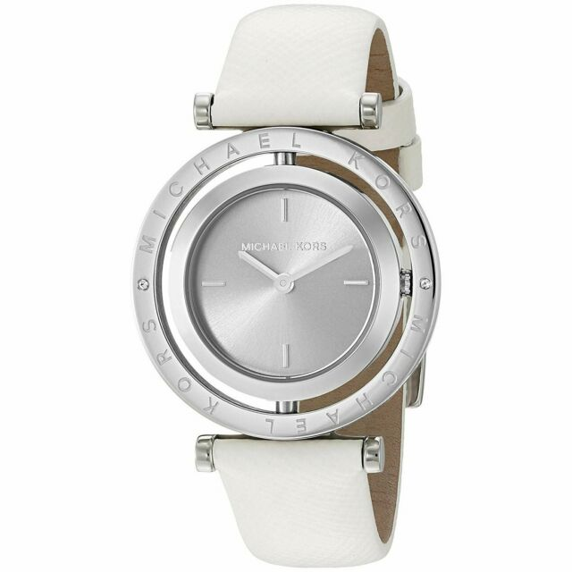 michael kors white leather watch
