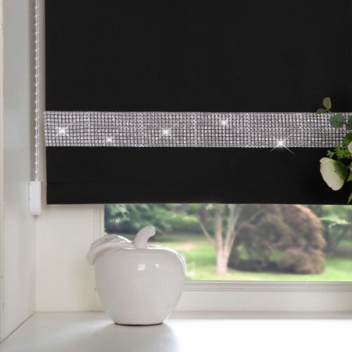DIAMANTE TRIM DECORATIVE BORDER STRAIGHT EDGE ROLLER BLINDS BLACK EASY TO FIT