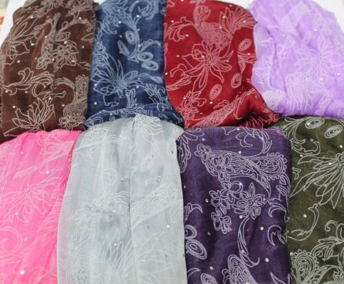 Femmes Beau Brillant Multi Stud Soirée Mariage Écharpe Long Hijab Châle Wrap Cadeau