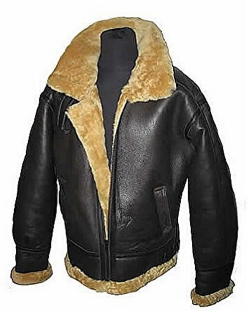 Mens Aviator RAF B3 Ginger Original Leather Sheepskin Bomber Flying Jacket