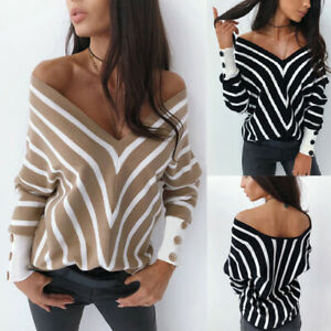 S-XL-Women-Casual-Long-Sleeve-Striped-T-shirt-Tops-V-Neck-Blouse-Black-White