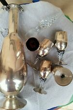 servizio antico deco da liquore in vetro di Murano lavorato con argento