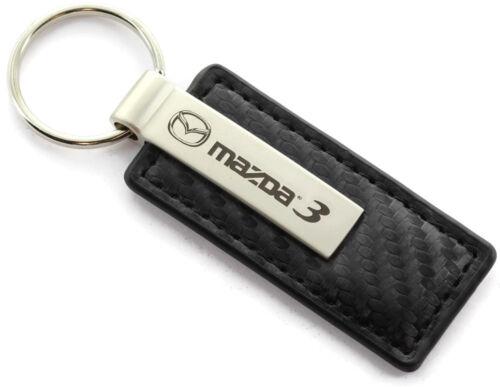 Mazda Mazda 3 Black CF Carbon Fiber Leather Logo Key Chain Ring Tag Fob Lanyard
