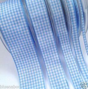 Royal Blue Per Metre Gingham Ribbon Berisfords 10mm