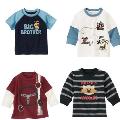 Gymboree Boys T-shirts Tee Shirt 6-12-18-24 mo Monkey Many Patterns Lines Blue