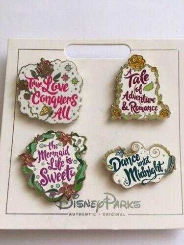 Princess Quotes 4 Pin Set Ariel Belle /& Cinderella Pin 131406 Aurora