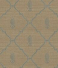 Wallpaper Designer Blue Trellis Lattice with Fleur de Lis on Taupe Gold Crackle