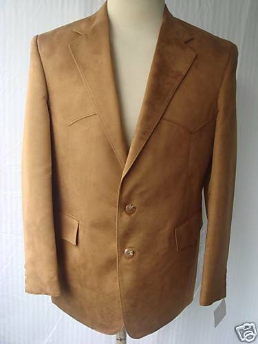 42R New  Herren Western Wear Sport Coat  Braun Poly Suede