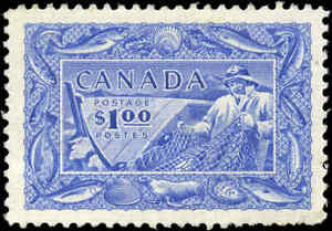 Mint-H-Canada-VF-Scott-302-1-00-Fisherman-Stamp