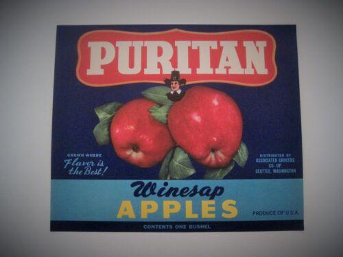 Puritan Winesap Apples Crate Label Seattle WA