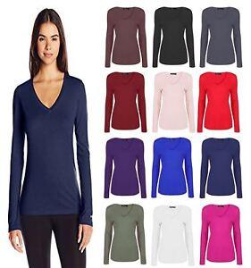 UK-Womens-T-Shirt-Casual-Long-Sleeve-Shirt-V-Neck-Blouse-Ladies-Slim-Casual-Tops