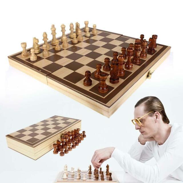 New Hand Crafted Game Toy Chess Set Parquet Wood Board & Wooden Pieces Gift Kids