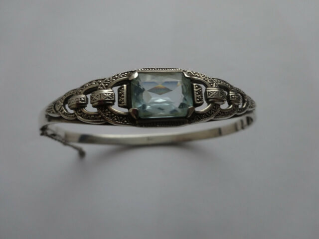 Armreif 835 Silber mit blauem Stein Jugendstil
